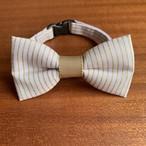 【送料無料】猫の首輪 リボン首輪 グログランリボン BIGリボン ラベンダー&ゴールドストライプ
