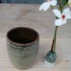 卓上花器 コップ形 窯変白マット【青陶舎】