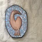 青地に鳥の陶板