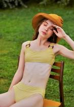 Ring bikini top & bottom ( mustard gingham )