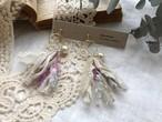裂き布タッセルイヤリング  pink flower & lace(パーツ変更可能)