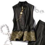 チャイナ風服 2点セット セットアップ 上下セット 改良唐装 改良漢服 チャイナドレス風 普段着 女子会 トップス スタンドネック ノースリーブ ショート丈 ズボン 大きいサイズ S M L LL 3L ブラック 黒い エレガント 両面刺繍