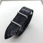 MIZORAH WATCHMAN 別注 オリジナル クロコダイル型押しレザーNATOストラップ 20mm 腕時計ベルト