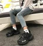 メンズ ボリュームスニーカー ダッドスニーカー 黒 靴 送料無料