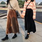【送料無料】ベルベット調で上品♡ プリーツスカート ロング 秋カラー ハイウエスト