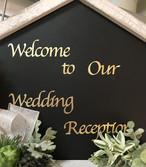 ウェルカムボード用シール(金色の文字・筆記体)(1枚) 「Welcome to Our Wedding Reception」【営業日1-3日で出荷予定】【結婚式 花嫁DIY ウェディング レセプション ゴールド】【ah-ra2242-4-gd】