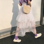 【送料無料】夏のお出掛けにおすすめ☆チュールティアードスカート