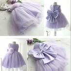 8494子供ドレス キッズ ベビー ジュニア 女の子ドレス フォーマルドレス  レース 紫 パープル