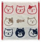 【猫柄】ジャガードハンカチタオル(レッド)【猫雑貨】