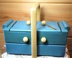 木製空色 裁縫箱 ドイツ ヴィンテージソーイングボックス