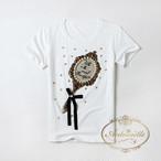 ビジューたっぷり キラキラ tシャツ ミラー ゆめかわいい 姫系 夏 半袖 2色展開 黒 白 フェミニン カジュアル ANLT113