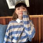 【送料無料】ボーイッシュコーデに♡ ボーダーポロ風 トップス