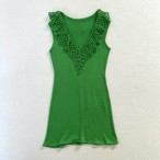 70's | green summer knit sleeve less dress