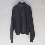 AURALEE BACK WOOL SWEAT HALF ZIP P/O INK BLACK