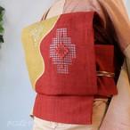 正絹紬 蘇芳と黄金色のなごや ドローンワーク