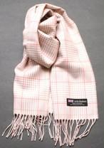 スコットランド製 暖かカシミア100%お洒落ベージュとピンクのチェック柄マフラー