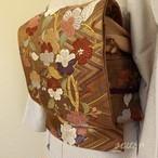 正絹 枯茶に花の刺繍の袋帯
