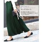 【柔らかな風合いが大人可愛い♡】充実ラインナップ!2タイプシフォンプリーツスカート ダークグリーン