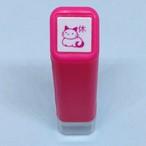 【こどものかお】スケジュールスタンプ浸透印 猫休 ピンク