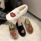 【shoes】刺繡入りふわふわ唇スパンコール飾りシューズ25058769