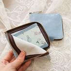 開けてときめく*ブルーグレーの本革財布【猫と香水瓶】