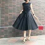 ウエストリボンフレアースカート ブラック