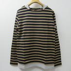 Unisex Audience レイヤードボーダーバスクシャツ  COL,NAVY×CAMEL