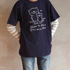にゃんきーとすTシャツ「ねこがいてよかった」ネイビー×ライトグレー