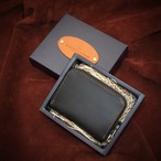 【即納】シンプルファスナー・ミニマリスト財布 ブラック&チョコ牛革 国産牛本革/Made in Japan Bateisha【送料無料】