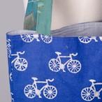 ブロックプリント トートバッグ 自転車柄 【フェアトレード商品】【アップサイクル商品】