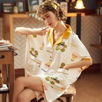 【パジャマ】スウィートプリント折り襟ワンピース27779195