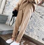 4色 ニットパンツ ジョガーパンツ ケーブル編み ゆったり カジュアル シンプル 大人可愛い 韓国 オルチャン ファッション