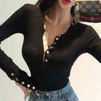 【tops】スリットお流行伸縮性良いTシャツ