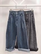 ワイドロングデニムパンツ ワイドパンツ デニム 韓国ファッション