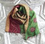 Kantha Silk Sarf (絞り染×サイド刺繍 Type)