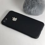 【送料無料】ブラックソフトケースにキラキラスワロフスキーのリンゴ iPhoneケース