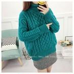 ネックが2重のゆったり暖か☆短めアラン編みセーター