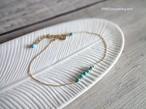 天然石のブレスレット■ターコイズ ライトブルー × 極細ダイヤモンドカットチェーン