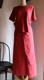 THE HINOKI オーガニックコットン ドルマンスリーブエプロンドレス RED #19S-22-C