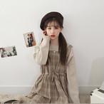 【dress】チェック柄ファッションスクエアネックカジュアルワンピース22711367