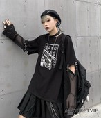 2019 秋 レディース 新作 トップス シャツ スウェット トレーナー 黒 ブラック メッシュ オルチャン 韓国ファッション 895