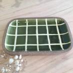 『一翠窯』長方皿 小 格子 緑
