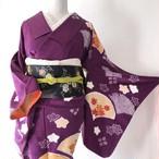 【ビンテージ】使用感なし 訪問着 紫色 絞り入り扇面・花 丈161裄67