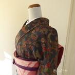 正絹ちりめん 紺に松竹梅の小紋 袷の着物