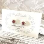 ♡大人可愛い♡ パールとビジューの1粒ピアス ピンク