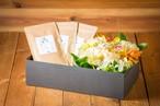 【プレゼント】【お茶とお花のセットBOX オレンジ&イエロー】〈お茶2種類〉