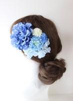 青のダリア、水色マム、アジサイの髪飾り