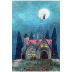 『不思議な夜に』 月夜の宿から満月へ登るうさぎ達がかわいい  ちょっと不思議なイラストのポストカード