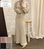 No.650 韓国ワンピース きれいめワンピース 大人可愛いワンピース タイトワンピース ニットワンピース 4color