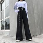 【bottoms】個性無地大好評高見えファッションガウチョパンツ19342602